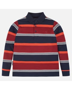 Mayoral POLO SHIRT STRIPE NAVY MAROON WHITE LONG SLEEVE Sizes 8-18 | 7110.011 NAVY
