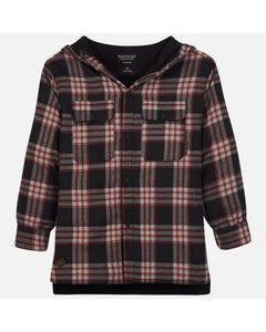 Mayoral OVERSHIRT WITH HOOD BLACK  RED CHECK  Sizes 8-18 | 7115 BLACK