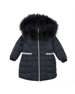 COAT NAVY REMOVABLE FUR COLLAR SPARKLY TRIM