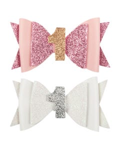 HAIRCLIP WHITE OR PINK GLITTER BOW FIRST BIRTHDAY