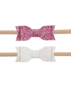 2 PACK HEADBAND  WHITE & PINK GLITTER BOW