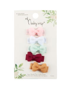 5 PACK BOW HAIR CLIP ASSORTED COLOURS