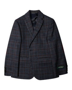 SPORT JACKET NAVY & WINE CHECK WITH ELBOW PATCH