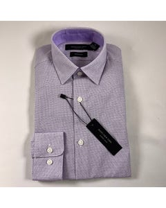 SHIRT LILAC & WHITE PRINT SKINNY FIT LONG SLEEVE