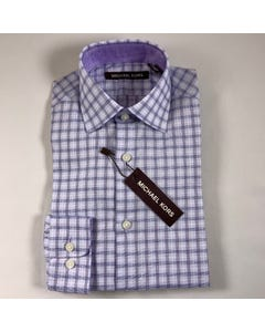 SHIRT LAVENDER CHECK NATURAL STRETCH LONG SLEEVE REGULAR FIT