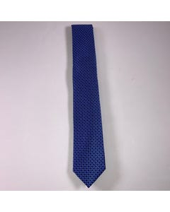 LONG TIE SILK ROYAL BLUE & NAVY PRINT
