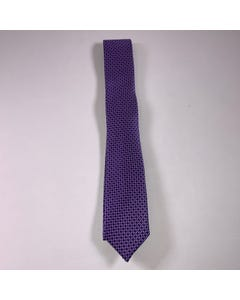 LONG TIE SILK PURPLE & NAVY PRINT
