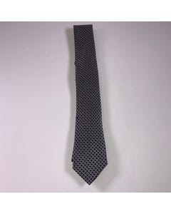 LONG TIE SILK CHARCOAL & BLACK PRINT