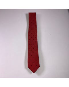 LONG TIE SILK RED BLACK & WHITE DOTS