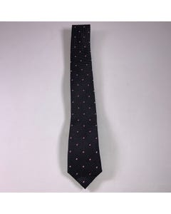 LONG TIE SILK BLACK PINK & WHITE DOTS