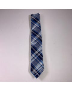 LONG TIE SILK BLUE & NAVY & WHITE PRINT LINES