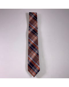 LONG TIE SILK ORANGE & NAVY PRINT CHECK