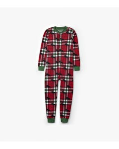 UNION SUIT ADULT HOLIDAY MOOSE ON PLAID RED WHITE GREEN