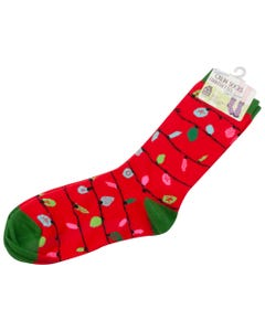 CREW SOCK WOMENS RED NORTHERN LIGHTS GREEN TRIM