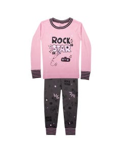 2 PC PYJAMA PINK & GREY ROCK STAR LONG SLEEVE