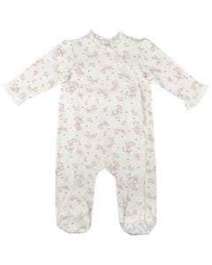 2 PC SLEEPER & HAT IVORY PINK ROSES PRINT SIDE CLOSURE