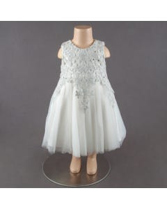 DRESS WHITE TULLE SILVER LACE BODICE SLEEVELESS RHINESTONE TRIM