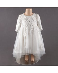 DRESS WHITE FLORAL CROCHET BODICE & SLEEVE HIGH LOW CUT RHINESTONES