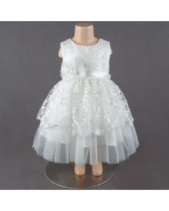 DRESS WHITE FLORAL EMBROIDERED TIERED PEARL TRIM SLEEVELESS
