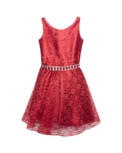 Jolene Girls Lace Jewel Belt Dress Size 4-16 | GG3593 Burgundy