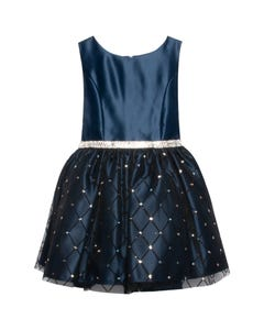 Jolene Girls Navy Satin Dress Size 2-12 | SK813 Navy