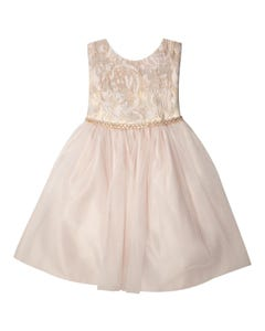 Jolene Girls Pink Embossed Tulle Dress Size 12m-18m | SKB805 Pink
