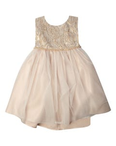 Jolene Girls Mocha Embossed Tulle Dress Size 6m-24m | SKB805 Beige