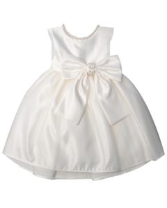Jolene Girls Tulle Satin Pearl Dress Size 6m-24m | SKB781 Ivory