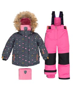 Deux Par Deux Girls Shocking Pink Snowsuit Size 2-6 | B10B802 Grey