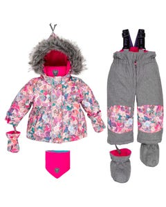 Deux Par Deux Girls Grey Mix Snowsuit Size 12M-30M | B10F502 Pink