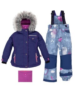 Deux Par Deux Girls Butterfly Denim Snowsuit Size 2-10 | B10H808 Blue