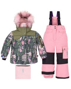 Deux Par Deux Girls Cashmere Rose Snowsuit Size 2-10 | B10J809 Green
