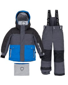 Deux Par Deux Boys Black Striped Texture Snowsuit Size 2-14 | B10M803 Black