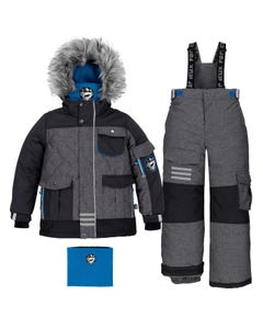Deux Par Deux Boys Textured Herringbone Snowsuit Size 2-14 | B10P816 Black