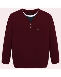 Mayoral Boys Maroon Henley Sweater Size 8-18 | 7312 Burgundy