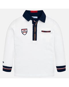 Mayoral Boys Long Sleeve Polo Size 2-9 | 4110 White
