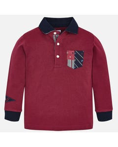 Mayoral Boys Long Sleeve Polo Size 2-9 | 4112 Purple