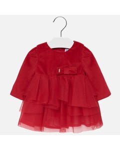 Mayoral Girls Velvet Dress Tulle Size 6M-36M | 2916 Red