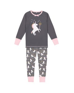 Deux par Deux Girls Unicorn Pyjama Set Size 3-12 | B20PG22 Grey