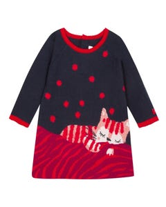 Catimini Girls Kitten Navy Knit Dress Size 6m-4 | CP30183 88 Red