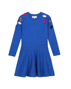 Catimini Girls Blue Knit Long Sleeve Dress Size 2-10 | CP30085 45 Blue