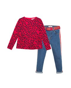 Catimini Girls 2Pc Top & Denim Pant Size 2-10 | CP19065 CP22055 Red