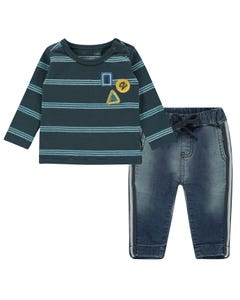 Noppies Boys 2 Pc T-Shirt & Pant Set Size 1m-18m | 94539 94549 Navy