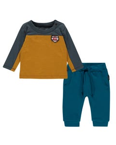 Noppies Boys 2 Pc T-Shirt & Pant Set Size 1m-18m | 94537 94553 Gold