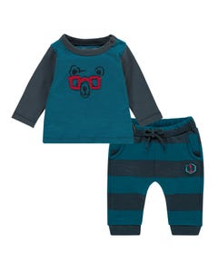 Noppies Boys 2 Pc T-Shirt & Pant Set Size 1m-18m | 94537 94547 Blue