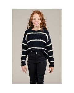 Mini Molly Girls White Stripe Sweater Size 6-14 | MMF389A19 Navy