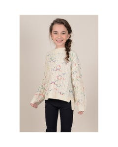 Mini Molly Girls Knitted Pattern Sweater Size 6-14 | MMF418A19 Cream
