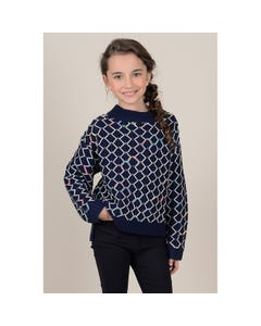 Mini Molly Girls Knitted Pattern Sweater Size 6-14 | MMF418A19 Navy