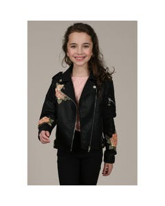 Mini Molly Girls Black Pleather Jacket Size 6-14 | MMHA002A19 Black
