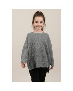 Mini Molly Girls Grey Knit Sequin Sweater Size 6-14 | MMLA141A19 Grey